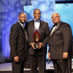 National PTA President Otha Thornton poses with Michael J. Brown, president of 100 Black Men of America, Inc., and Curley M. Dossman, Jr., chairman of the Board for 100 Black Men of America, Inc.