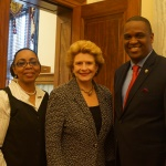 National PTA Legislative Chair Stella Edwards and National PTA President Otha Thornton pose with Debbie Stabenow, chair of the Senate Committee on Agriculture, Nutrition and Forestry