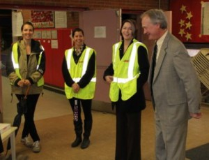 Rhode Island Governor Chafee gets ready to walk.