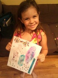 Sofia, proud of her creation.